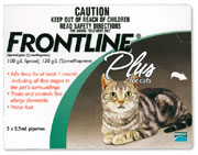 Pack shot of Frontline Plus flea tretment for cats available at Bowhouse