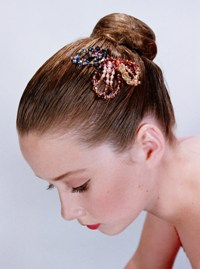 Dance Headpiece Comb - Leaf - Multi Coloured