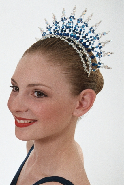 Ballet Tiara Headpiece Princess Royal Blue, Sapphire & Crystal AB 6cm Height