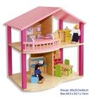 Fun Factory Wooden Pink Doll's House with Furniture & 2 Dolls