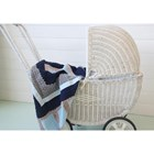 Boys Sky Blue hand crochet blanket with fawn/light blue grosgrain ribbon trim