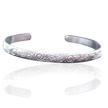Personalised  Floral Cuff Bangle