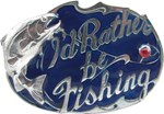 Pewter Rather Be Fishing Enameled Belt Buckle
