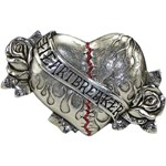 Boutique PewterFlamed Heart Breaker Belt Buckle