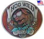 Hog Wild Enameled Biker Belt Buckle 