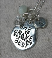 Re-Purposed pendant :SHE IS BRAVE BRILLIANT BEST