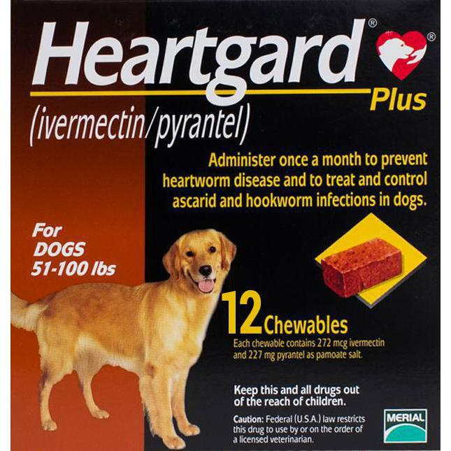 Heartgard-Chewables-Plus-Brown-Dogs-51-100-lbs-(23-45kg)-12-Chewables