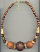 AEN341- 1 Plain Brown Ball Necklace