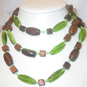 AEN136- Long Wood Bead Necklace