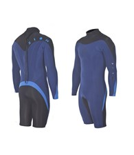 ZION WETSUITS FLUX 2/2mm GBS Long Sleeve Springsuit - Navy Blue/ Black/ Blue