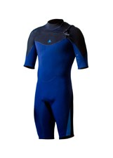 ZION WETSUITS VAULT Chest Zip 2/2mm GBS Springsuit - Navy Blue/ Black/ Sea Blue