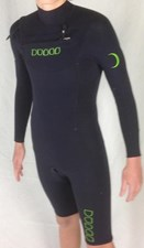 Dunes BP Chest Zip 2/2mm GBS Long Sleeve Springsuit  Black/ Green Logo