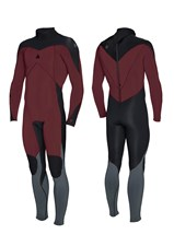 ZION WETSUITS FLUX 3/2mm STEAMER -  Burgundy/ Black/ Graphite