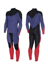ZION WETSUITS WESLEY 3/2mm CHEST ZIP STEAMER - Purple/ Black/ Red
