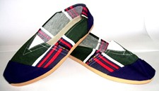 Applegator Shoes - Tartan Stripe with Navy Toe