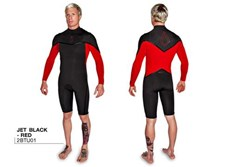 Agent Eighteen Wetsuits - V7 Plus 202mm Long Arm Springsuit - Black/ Red