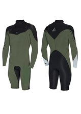 ZION WETSUITS WESLEY 2/2mm LONG SLEEVE SPRINGSUIT - Combat Green /Black/ Silver