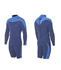ZION WETSUITS MATLOCK 2/2mm Long Sleeve Springsuit - Navy Blue/ Sea Blue