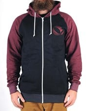 GRAND FLAVOUR Zambia Zip Up Hoody - Black/ Maroon