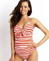 Seafolly Seaview Tie Front Halter Maillot One Piece