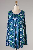 Green/Navy Tunic Top