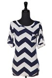 Navy/White Slinky Chevron Top