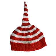 Bamboo hand knitted baby night cap - red