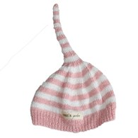 Bamboo hand knitted baby night cap - pink
