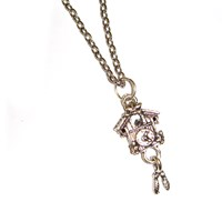 Tiny Cuckoo Clock Charm Necklace