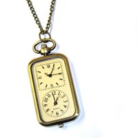 Double Face Pocket Watch Necklace