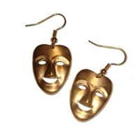 Vintage Brass Charm Comedy & Tragedy Earrings