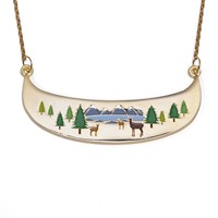 Deers in the mountains Huge statement necklace-As seen in LOOK magazine!
