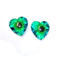 Crazy Green & Blue Eye Stud Statement Earrings