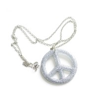 Chunky Silver Glitter Peace Sign Necklace