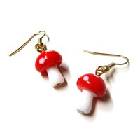 Glass Mini Mushroom Earrings