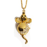 Diamante  Encrusted Golden Mouse Watch Necklace