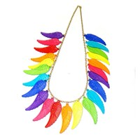 Rainbow Angel Wings Statement Necklace
