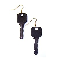 Black Plastic Key Earrings