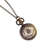 Antique Style Rose Design Mini Pocket Watch Necklace