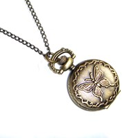 Antique Style Butterfly Design Mini Pocket Watch Necklace As Seen On Mollie King