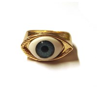 Gold Tone Evil Eye Ring