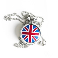 Union Jack Pocket Watch Necklace