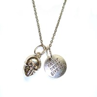 Never Give Up Token Necklace With Silver Skull Detail