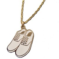 White And Gold Pair of Plimsolls Pendant Necklace