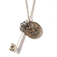 Vintage Coin And Key Charm Necklace