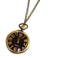 Black and Gold Pocket Watch Necklace