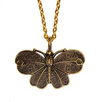 Vintage Style Golden Moth Necklace