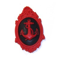 Framed Anchor Cameo Brooch