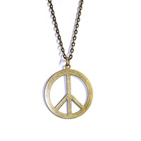 Large Antique Bronze Tone Peace Sign Pendant