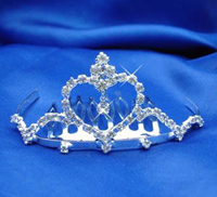 Heart Tiara, Gold or Silver, 4103 (Silver Pictured)